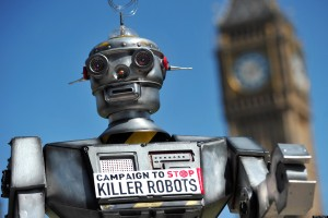 "A mock ""killer robot"" is pictured in central London on April 23, 2013 during the launching of the Campaign to Stop ""Killer Robots,"" which calls for the ban of lethal robot weapons that would be able to select and attack targets without any human intervention. The Campaign to Stop Killer Robots calls for a pre-emptive and comprehensive ban on the development, production, and use of fully autonomous weapons. AFP PHOTO/CARL COURT        (Photo credit should read CARL COURT/AFP/Getty Images)"